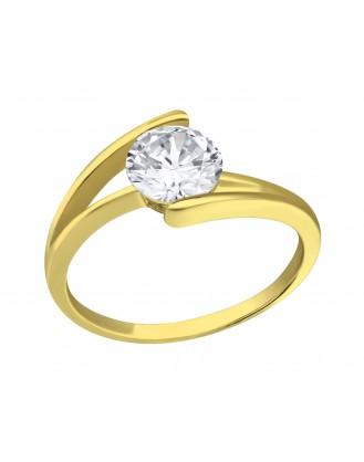 """Stříbrný prsten pozlacený se zirkonem  """"Split"""". Ag 925/1000"""