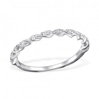 """1,5x1,4 Stříbrný prsten se zirkony """"Clavi"""". Ag 925/1000"""