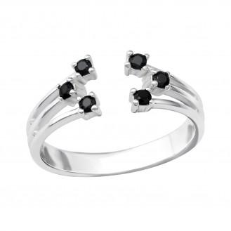 """Stříbrný prsten se zirkony """"Oppositio"""". Ag 925/1000"""