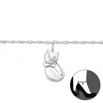 """Stříbrný řetízek na nohu """"Stříbrná kočička"""". Ag 925/1000"""