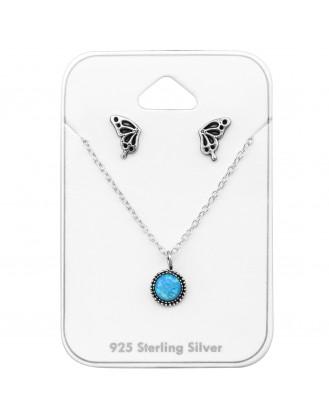 """Souprava stříbrných naušnic, řetízku a přívěsku """"Azure"""" OX. Ag 925/1000"""