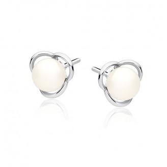 "Stříbrné náušnice pecky s perly ""Otium"". Ag 925/1000"