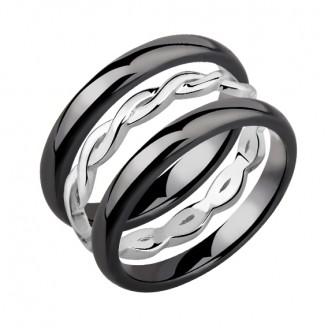 """Sada prstenů """"Pigtail"""". black. Ag 925/1000"""