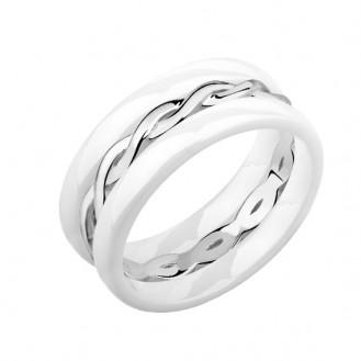 """Sada prstenů """"Pigtail"""". white. Ag 925/1000"""