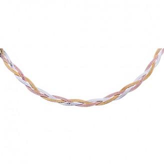 """Stříbrný pozlacený řetízek """"Tortis"""". 45cm. Ag 925/1000"""