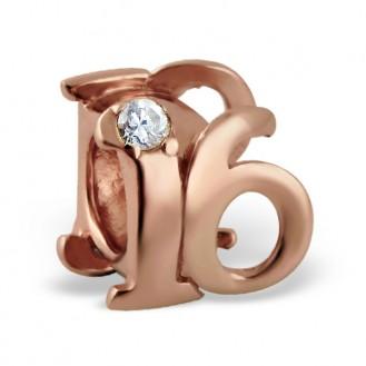 """Stříbrný pozlacený korálek se zirkony na náramek Pandora """"16 let"""". Ag 925/1000"""
