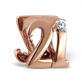 """Stříbrný pozlacený korálek se zirkony na náramek Pandora """"21"""". Ag 925/1000"""