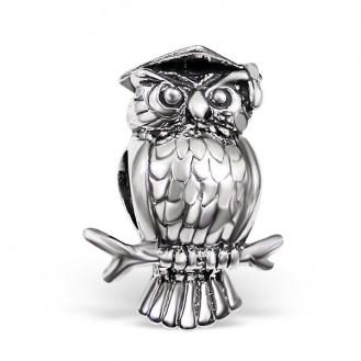 "Stříbrný korálek na Pandora náramek ""Sova"". Ag 925/1000"