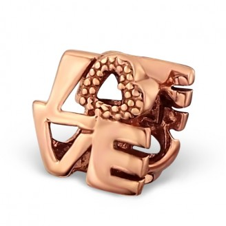 """Stříbrný pozlacený korálek na Pandora náramek """"Love"""".rgp. Ag 925/1000"""
