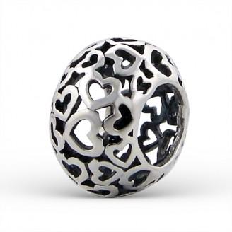 """Stříbrný korálek na Pandora náramek """"Darované srdce"""". Ag 925/1000"""