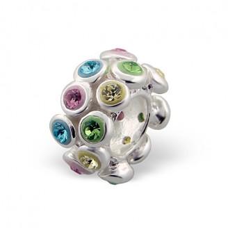 """Stříbrný korálek s krystaly na Pandora náramek """"Exemplar"""". Ag 925/1000"""