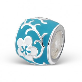 "Stříbrný korálek na Pandora náramek ""Květy jara"" blue. Ag 925/1000"
