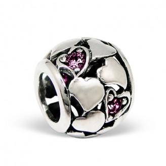 "Stříbrný korálek se zirkony na Pandora náramek ""Polly"". Ag 925/1000"
