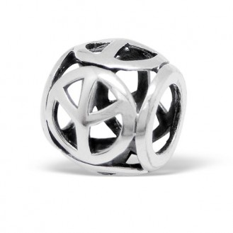 "Stříbrný korálek na Pandora náramek ""Znak míru"".ox. Ag 925/1000"