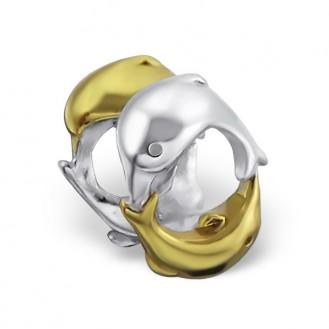 "Stříbrný pozlacený korálek na náramek Pandora ""Delfíny"". Ag 925/1000"