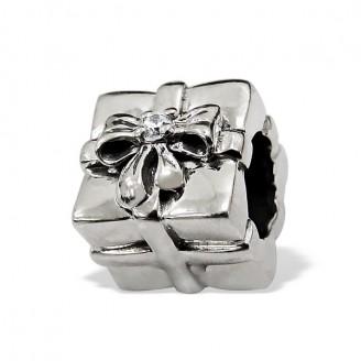 "Stříbrný korálek na náramek Pandora ""Stříbrný dáreček"". Ag 925/1000"