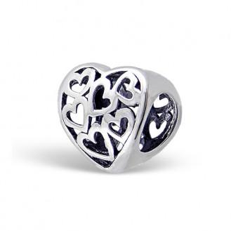 "Stříbrný korálek na Pandora náramek ""Srdce a srdíčka"" ox. Ag 925/1000"