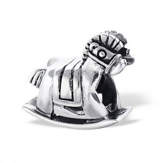 "Korálek stříbrný na náramek Pandora ""Houpací koník"". Ag 925/1000"