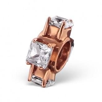 """Stříbrný pozlacený korálek se zirkony na Pandora náramek """"Ornella"""".rgp. Ag 925/1000"""