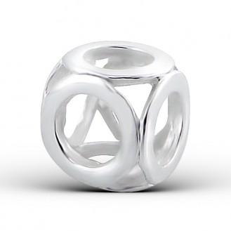 "Stříbrný korálek na náramek Pandora ""Jasný"". Ag 925/1000"
