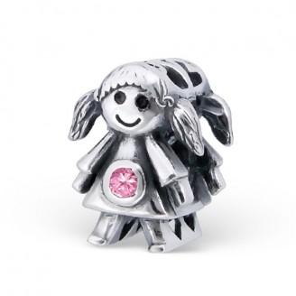 """Korálek stříbrný se zirkonem na náramek Pandora """"Tvoje oblíbená panenka"""". Ag 925/1000"""