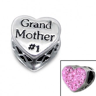 "Korálek stříbrný s krystaly na Pandora náramek ""Grand Mother #1"". Ag 925/1000"