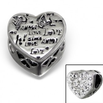 """Stříbrný korálek s krystaly na Pandora náramek """"Amore"""". Ag 925/1000"""