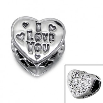"Stříbrný korálek s krystaly na Pandora náramek ""Miluji tě"". Ag 925/1000"