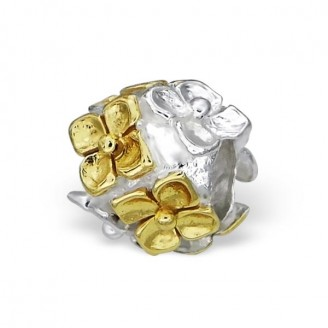 "Stříbrný pozlacený korálek na náramek Pandora, ""Contectum"". Ag 925/1000"