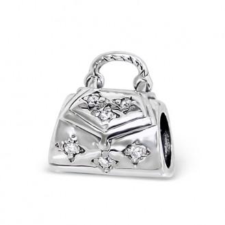 "Stříbrný korálek s krystalky na náramek. ""Okouzlující kabelka"". Ag 925/1000"