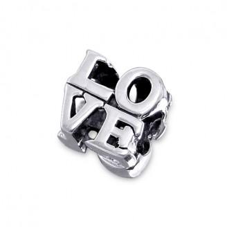 "Stříbrný korálek na náramek Pandora ""Love"". Ag 925/1000"