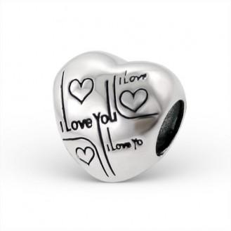 """Stříbrný korálek na Pandora náramek """"Miluji tě"""". Ag 925/1000"""