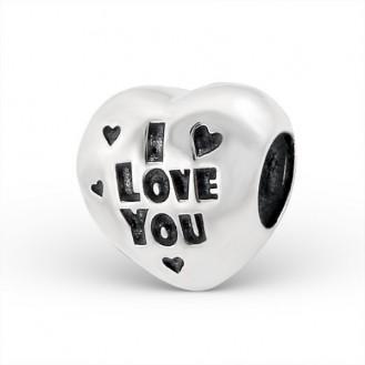 "Stříbrný korálek na náramky Pandora ""Miluji tě"". Ag 925/1000"