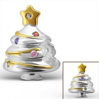 """Stříbrný pozlacený korálek se zirkony na náramek Pandora """"Vánoční stromeček"""". Ag 925/1000"""