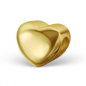 """Stříbrný pozlacený korálek na Pandora náramek """"Srdíčko"""" gold. Ag 925/1000"""