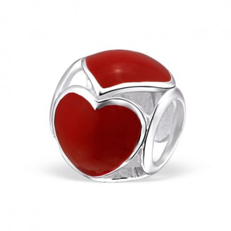 "Stříbrný korálek na Pandora náramek ""Rudé srdce"". Ag 925/1000"