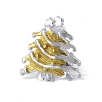 """Stříbrný pozlacený korálek na náramek Pandora """"Vánoční stromeček"""". Ag 925/1000"""