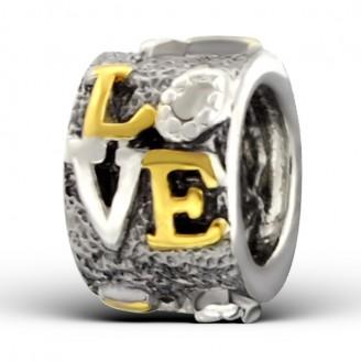 """Stříbrný pozlacený korálek na Pandora náramek """"Ring of love"""". Ag 925/1000"""