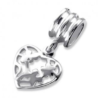 """Stříbrný korálek na Pandora náramek s přívěskem """"Zlomené srdce"""". Ag 925/1000"""