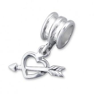 """Stříbrný korálek na Pandora náramek s přívěskem """"Pro zamilované"""". Ag 925/1000"""
