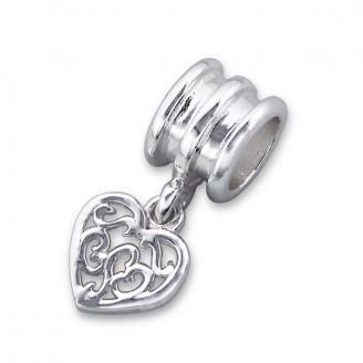 """Stříbrný korálek na Pandora náramek s přívěskem """"Srdíčko"""". Ag 925/1000"""