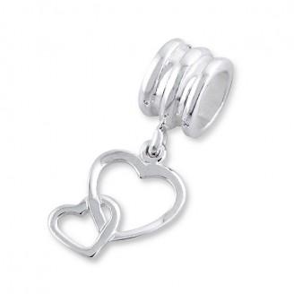 """Stříbrný korálek s přívěskem na Pandora náramek """"S láskou"""". Ag 925/1000"""