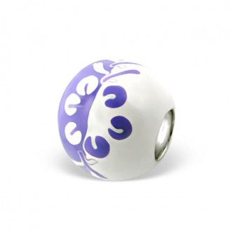 "Stříbrný korálek na náramek Pandora ""Stříbrný květ"" fialový. Ag 925/1000"