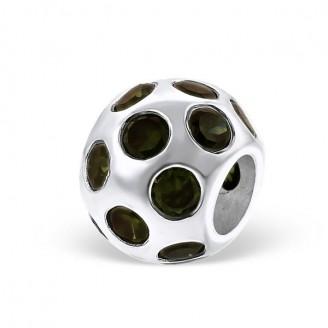 "Stříbrný korálek se zirkony na Pandora náramek ""Diluvium"". Ag 925/1000"
