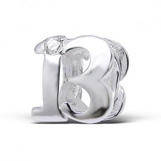 """Stříbrný korálek se zirkony na náramek Pandora """"13 let"""". Ag 925/1000"""
