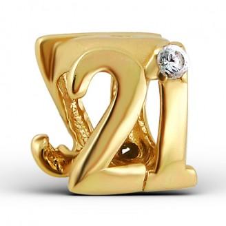 """Stříbrný pozlacený korálek se zirkony na náramek Pandora """"21"""". gp. Ag 925/1000"""