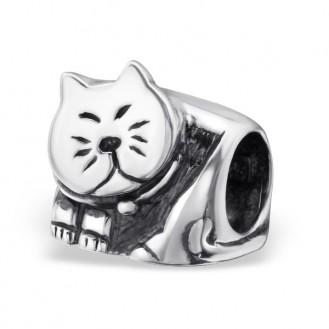 "Stříbrný korálek na Pandora náramek ""Kočka Míca"". ox. Ag 925/1000"