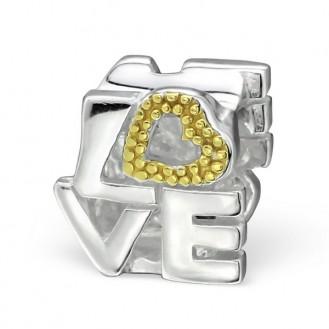 "Stříbrný korálek na Pandora náramek ""Love"".tgp. Ag 925/1000"