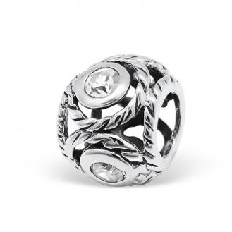 "Korálek stříbrný s krystaly na Pandora náramek ""Vitae"". Ag 925/1000"