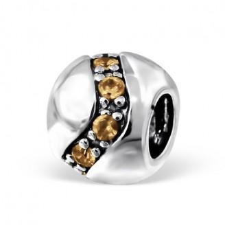 """Stříbrný korálek se zirkony na Pandora náramek """"Asymmetric"""". Ag 925/1000"""